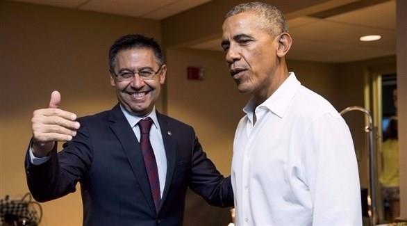 أوباما يحضر مباراة برشلونة و مانشستر يونايتد