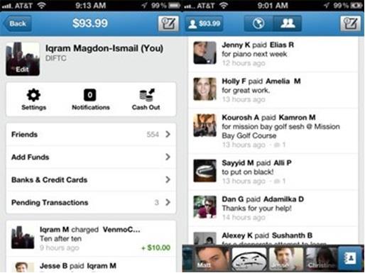 تطبيق Venmo المجاني، وهو يتيح لمستخدمي آيفون وأندرويد تحويل مبالغ مالية إلى اي مكان في العالم.