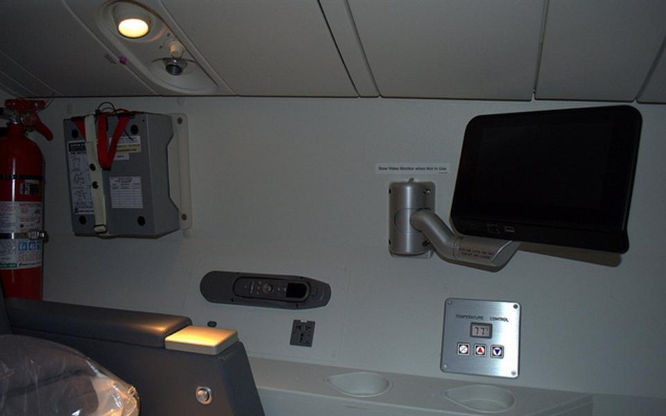 """في استراحة طياري شركة """"أمريكان إيرلاينز"""" ذات الطائرات طراز """"بوينج 777"""" يوجد شاشة تلفاز أكبر من الموجودة في الدرجة الاقتصادية."""