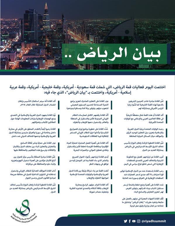 """""""إعلان الرياض"""": تشكيل قوة احتياط من 34 ألف جندي لمحاربة الإرهاب.. وتأسيس تحالف الشرق الأوسط الاستراتيجي"""
