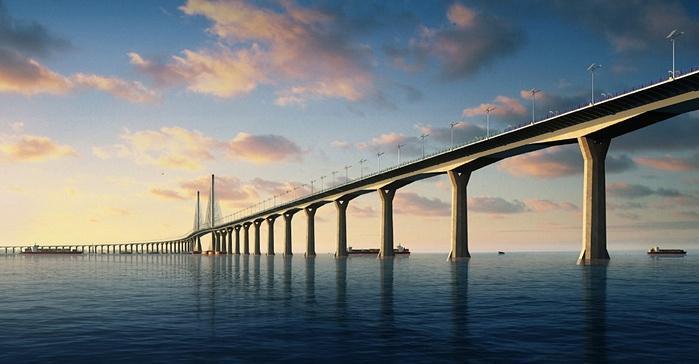 3- جسر هونج كونج وتشوهاي وماكاو – الصين   - يعمل الصينيون منذ استردادهم لجزيرة هونج كونج في عام 1999 على التقريب بينها وبين مد