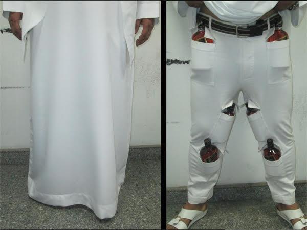 طريقة مبتكرة لإخفاء زجاجات خمر أسفل الثوب