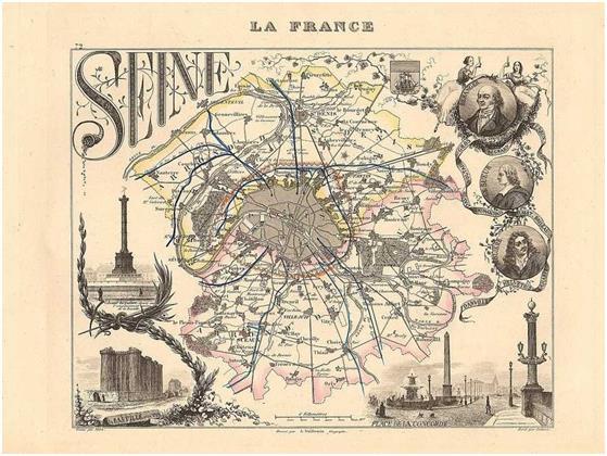 كانت لخريطة باريس، التي تشتهر في الوقت الحالي بمقاطعاتها العشرين، تصميمًا مختلفًا، حيث بنيت المنطقة الإدارية الأولى خلال الثور