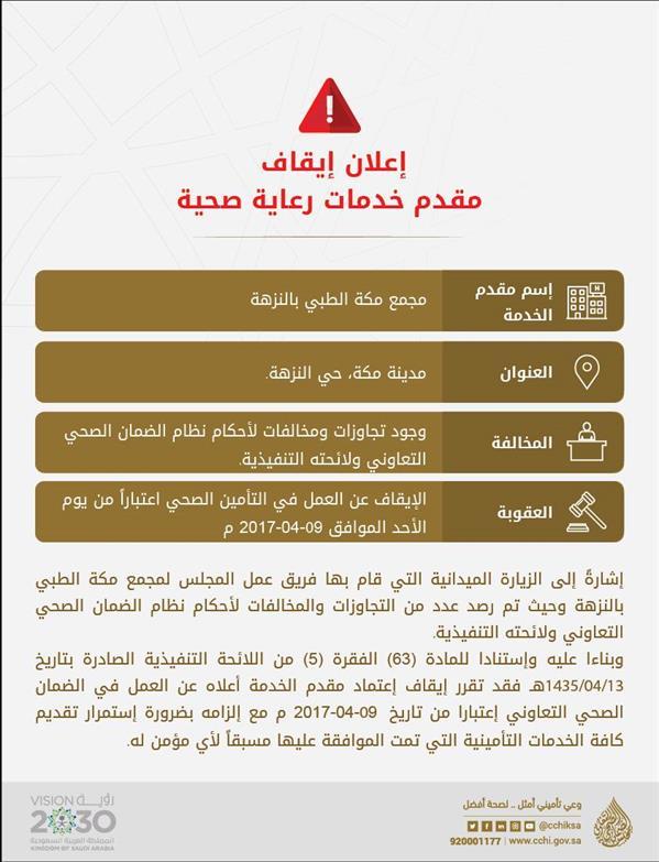 """""""الضمان الصحي"""": إيقاف مجمع مكة الطبي بالنزهة عن العمل في التأمين الصحي"""