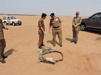 بالصور.. بقايا الصاروخ البالستي الذي أسقطته القوات السعودية للحوثيين