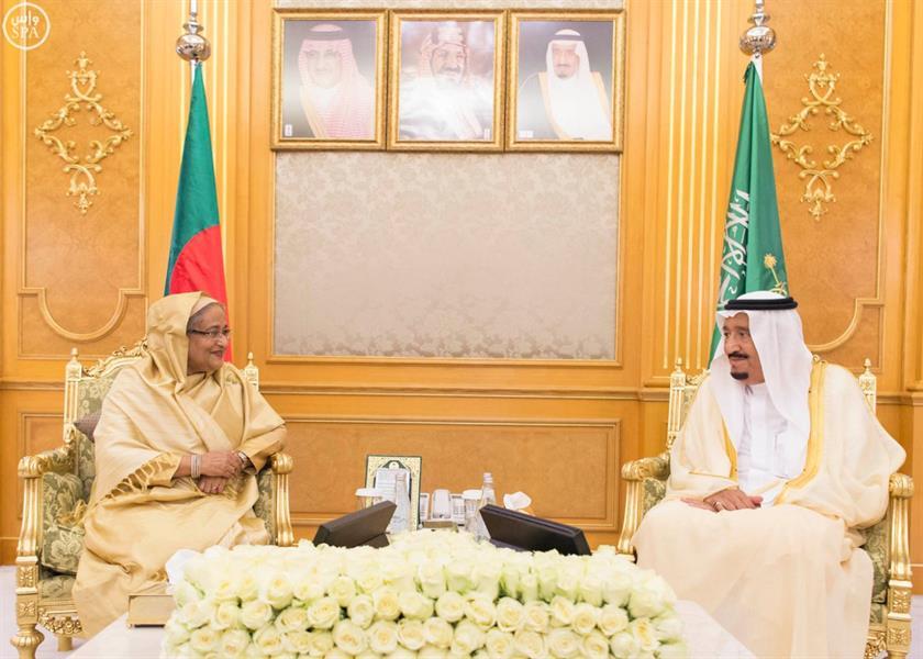 خادم الحرمين يستقبل رئيسة وزراء بنجلاديش في قصر السلام