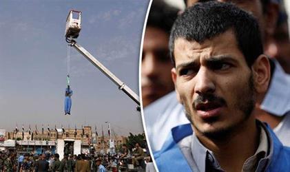 شاهد.. كيف أُعدم يمني اغتصب وقتل طفلة ثم صُلب من رافعة وسط تجمهر المئات
