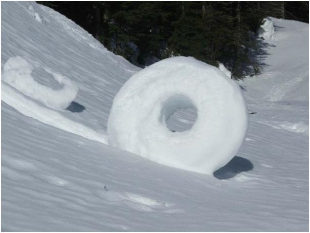 """يتشكل """"الكعك الثلجي"""" ( Snow donuts) عندما تتحرك دوامات الهواء فوق سطح الأرض، ملتقطة معها ذرات الثلج في تحركها، وتتنوع في أحجام"""