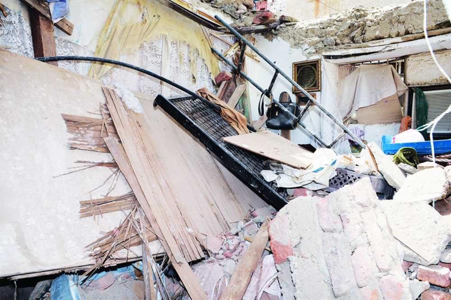 منزل عبدالقدوس بعد تهدمه