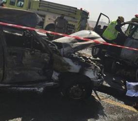 مصرع شخصين احتراقاً وإصابة آخر في حادث شنيع بطريق صناعية المبرز