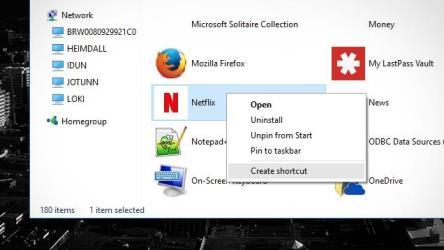 modern windows app shortcut