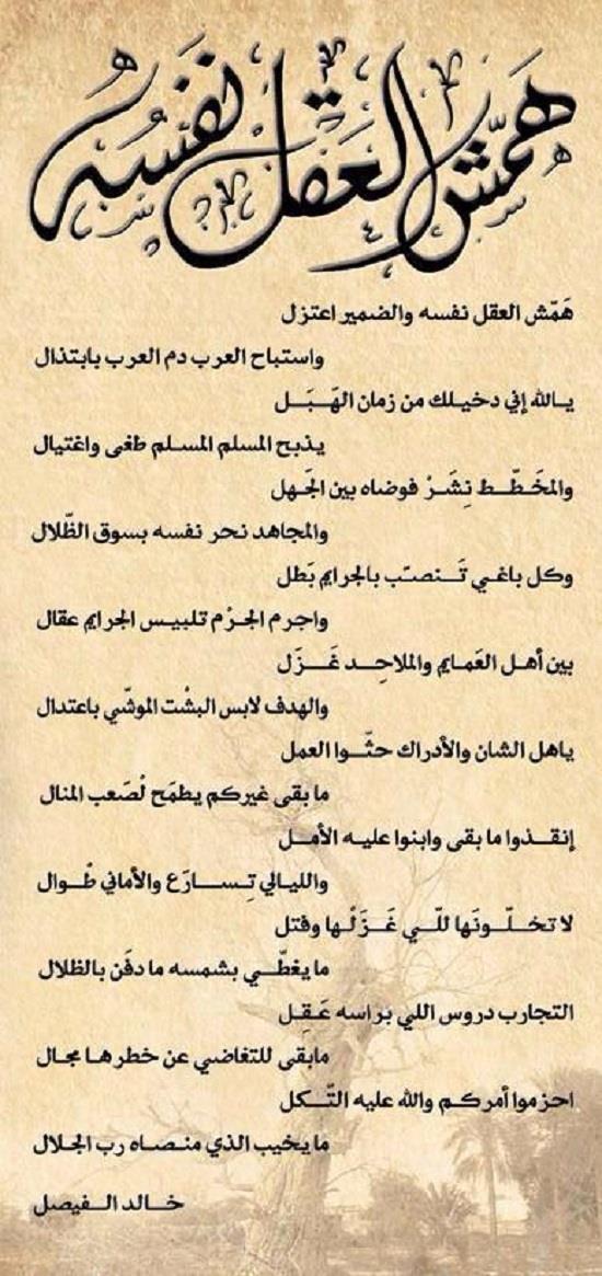 قصيدة جديدة للفيصل ترثي لحال الأمة العربية وتحذر من مخططات نشر الفوضى بها