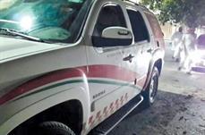 سيارة الإسعاف بعد تعرضها للاعتداء