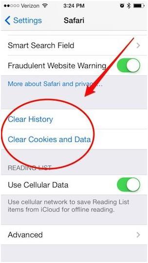 """كما ويساعد مسح ذاكرة تطبيق """"سفاري"""" أيضا على توفير مساحة للهاتف,إذ يضغط المستخدم على أزرار Settings>Safari>Clear History"""""""" ثم ي"""