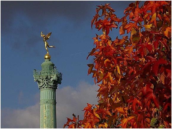 لم يًشيد عمود الباستيل وسط ساحة الباستيل لإحياء ذكرى اقتحام السجن، وقيام الثورة الفرنسية عام 1775، لكنه شُيد تكريمًا لثورة  يو