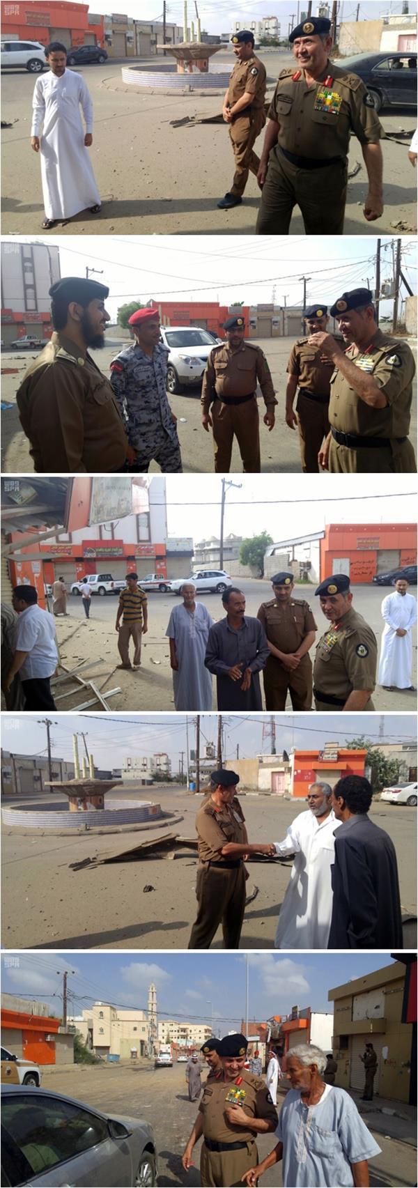 مدير شرطة جازان يتفقد الأضرار التي أحدثتها مقذوفات الحوثي بالطوال: