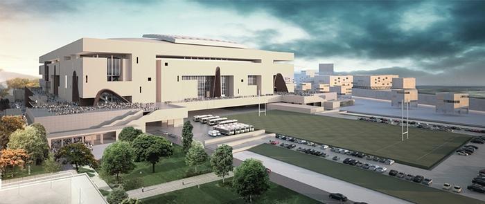 """7- FFR Grand Stade – باريس، فرنسا   - يعمل المعماريون في شركة """"بوبيولوس"""" الأمريكية على تقديم استاد لاتحاد الرغبي في فرنسا يسع"""