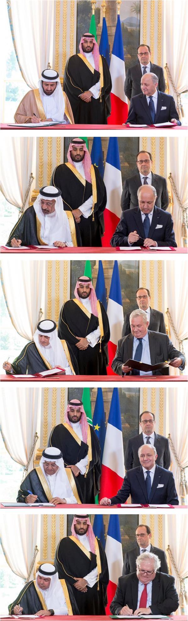 الرئيس الفرنسي وسمو ولي ولي العهد يشهدان مراسم توقيع اتفاقيات بين المملكة وفرنسا