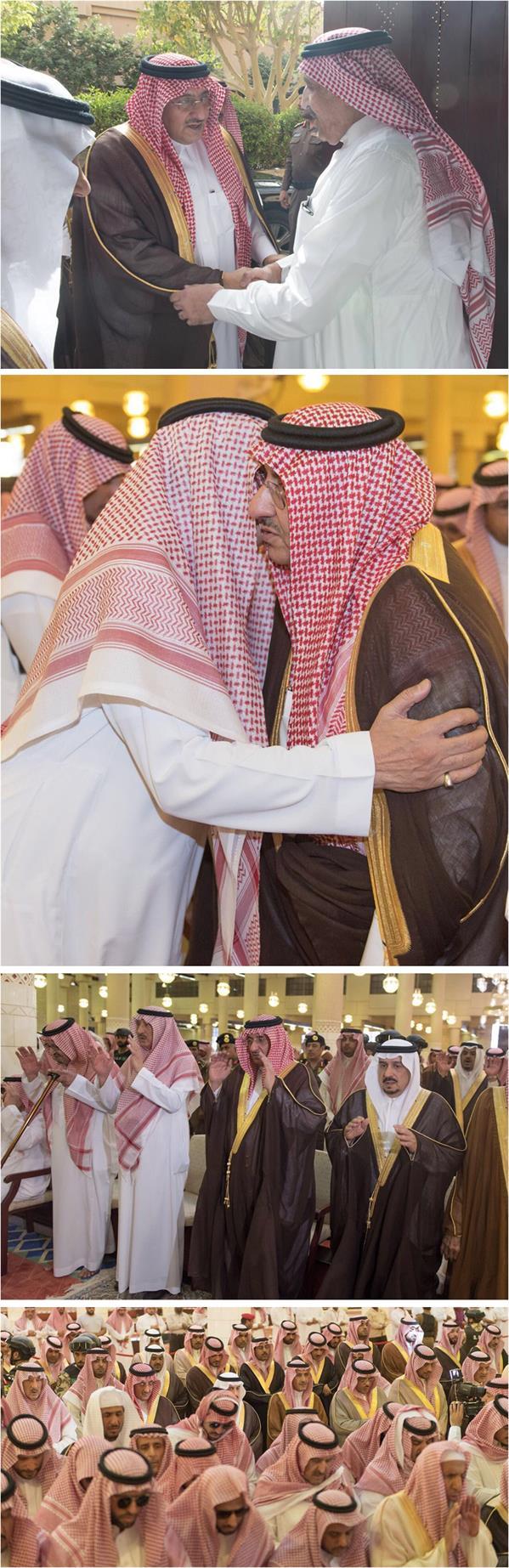 ولي العهد يتقدم المصلين على الأمير ناصر بن سلطان ومرافقه عبدالله الدوسري