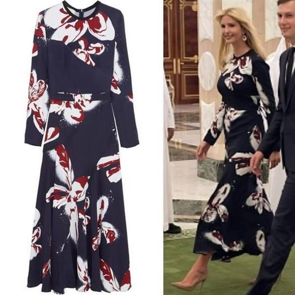 نفاد كل الكميات المعروضة من فستان إيفانكا الذي ارتدته في المملكة.. تعرف على سعره - صور