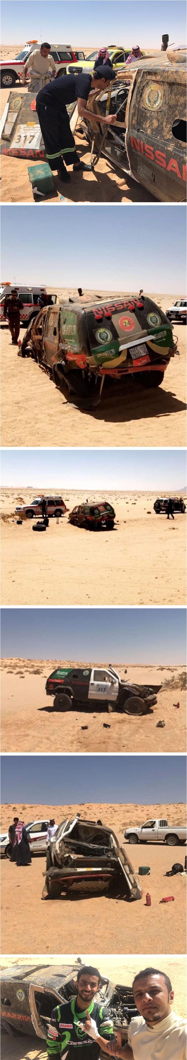 """تعرض سيارة فريق """"الحرس الملكي"""" للانقلاب في رالي حائل"""