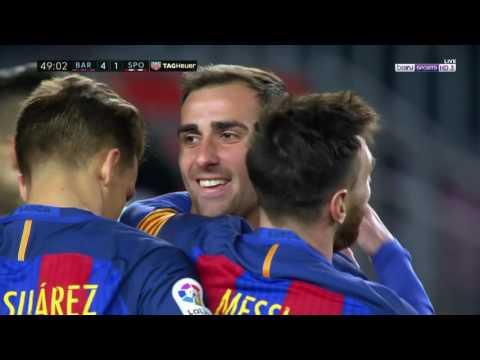 برشلونة ( 6 - 1 ) سبورتينغ خيخون الدوري الاسباني