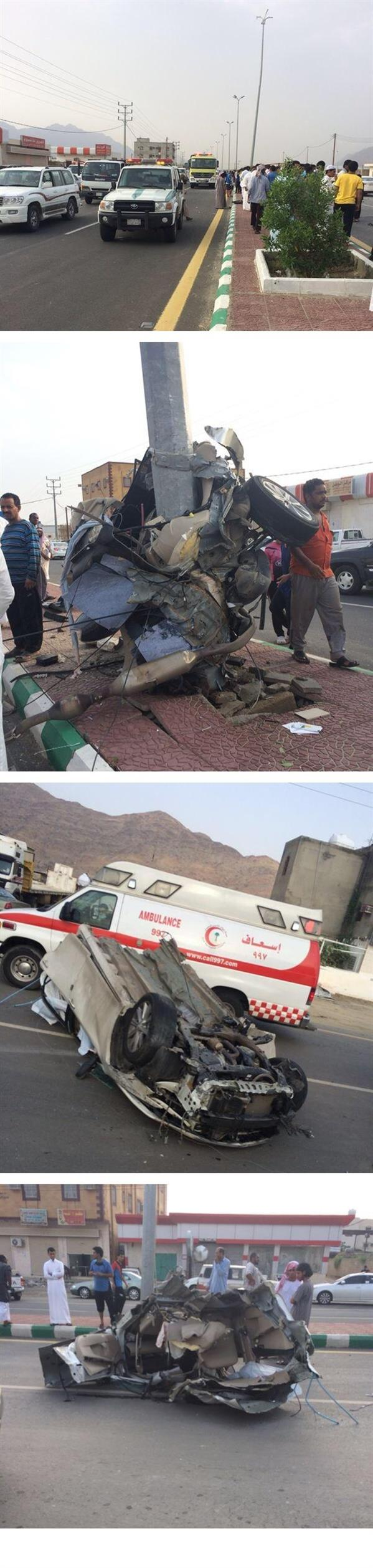 عسير: وفاة اصطدامه بعمود وانشطار سيارته (صور) 9f918461-056e-462d-b