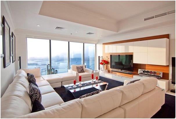 """شقة """"بنتهاوس"""" في برج كراون الإمارات بدبي مارينا، وتتكون من 4 غرف نوم، اثنتين منهما غرف نوم رئيسية، والأخريتين إحداهما غرفة مزد"""