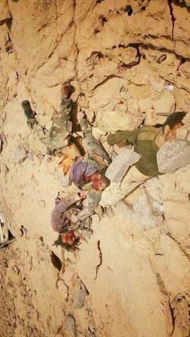 تناثر جثث قتلى الحوثيين بالحد الجنوبي بعد التصدي لمحاولتهم اختراق الحدود 
