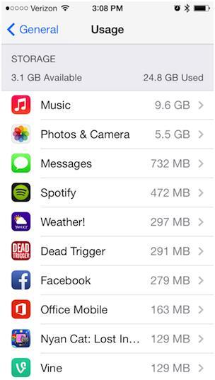 """يمكن للمستخدم أيضا حذف بعض التطبيقات لزيادة مساحة الهاتف, ولمعرفة حجم كل تطبيق في الجهاز يضغط المستخدم على صفحة الإعدادات: """" S"""