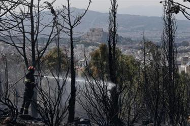 حريق غابات قرب أثينا يحدث أضرارا بمنازل ويدفع السكان للفرار