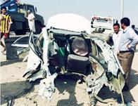 سيارة المشجع بعد الحادث