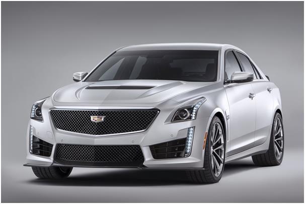 """سيارة كاديلاك """"CTS-V""""، وتعتبر أسرع سيارة كاديلاك تم إنتاجها حتى الآن، إذ يمكنها قطع 60 ميلاً في غضون 3,7  ثانية، كما تصل سرعته"""