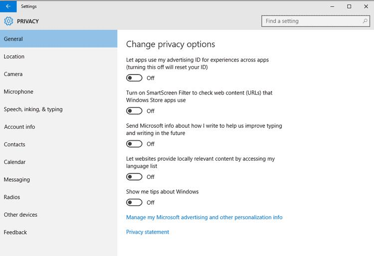Windows 10 privacy Settings 1