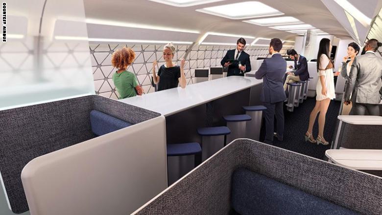 وعلى سبيل المثال، في رحلة مسائية يمكن تبديل كبينة المقاعد بكبينة ملئة بمساحات النوم أو الاستلقاء