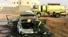 حريق سيارات يستنفر فرق الدفاع المدني