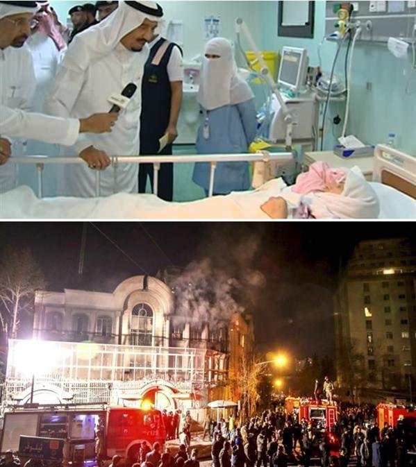 ناشطون يقارنون بين تصرف الملك سلمان شخصيا تجاه الإيرانيين ورد فعل الحكومة الإيرانية نحو السعوديين