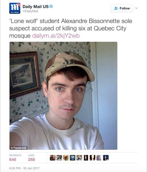 """غضب عالمي من صحيفة بريطانية وصفت مرتكب جريمة مسجد كندا بـ """"الذئب المنفرد"""".. وناشطون: """"إرهابي"""""""