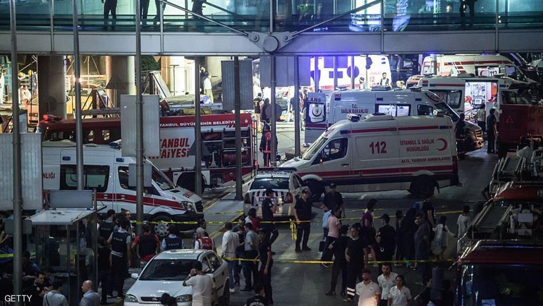 """8- استهدف 3 انتحاريين أمس الأربعاء 28 يونيو يشتبه أنهم من تنظيم """"داعش"""" الصالة الدولية بمطار أتاتورك في إسطنبول، ما أسفر عن مق"""