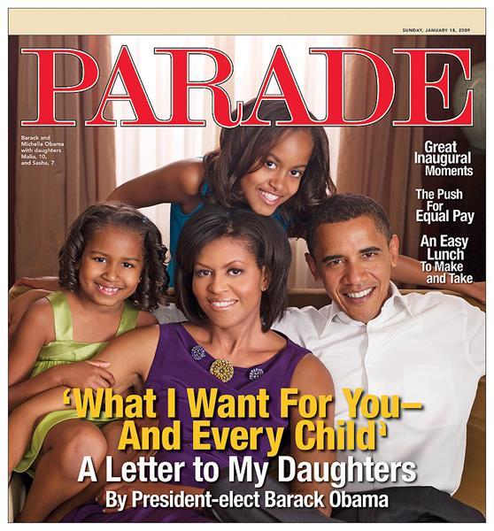"""قبل تنصيبه رئيسًا للولايات المتحدة الأمريكية , كتب """"أوباما"""" رسالة إلى كل طفل في أمريكا بما فيهم ابنتيٌه، ونُشرت في مجلة """"باريد"""