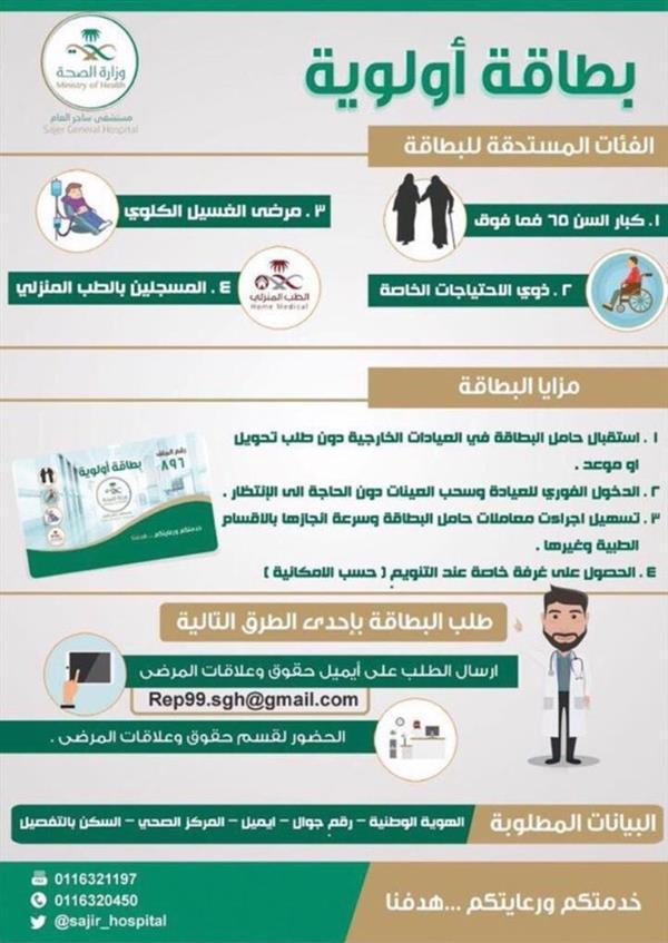 """""""الصحة"""" تبدأ إصدار بطاقات أولوية لفئات من المرضى لتسهيل وتسريع تقديم الخدمات العلاجية لهم"""