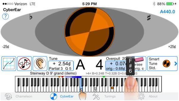 """تطبيق """"CyberTuner"""" هو تطبيق من أجل محترفي ضبط إعدادات البيانو، ويتميز بدقته وسهولته في الاستخدام، ويبلغ سعره 1000 دولار."""