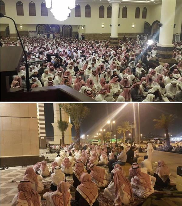 صور تبين كثافة الحضور والازدحام أثناء محاضرة لإمام وخطيب مسجد قباء