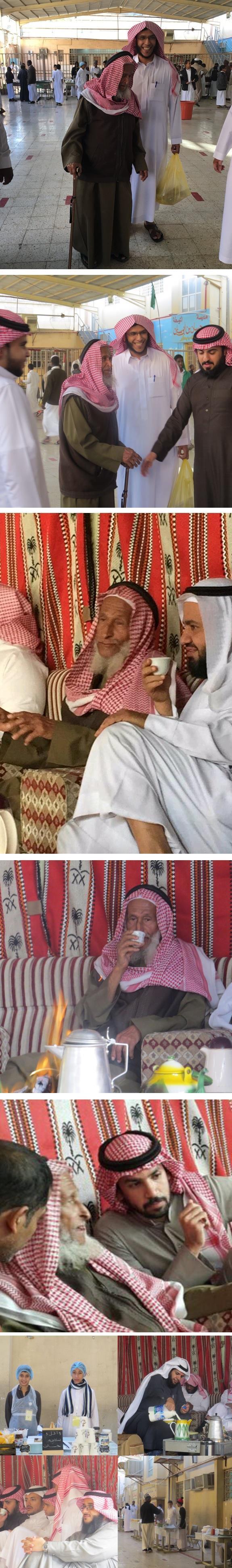 معلم يصطحب والده معه لحضور فعالية: