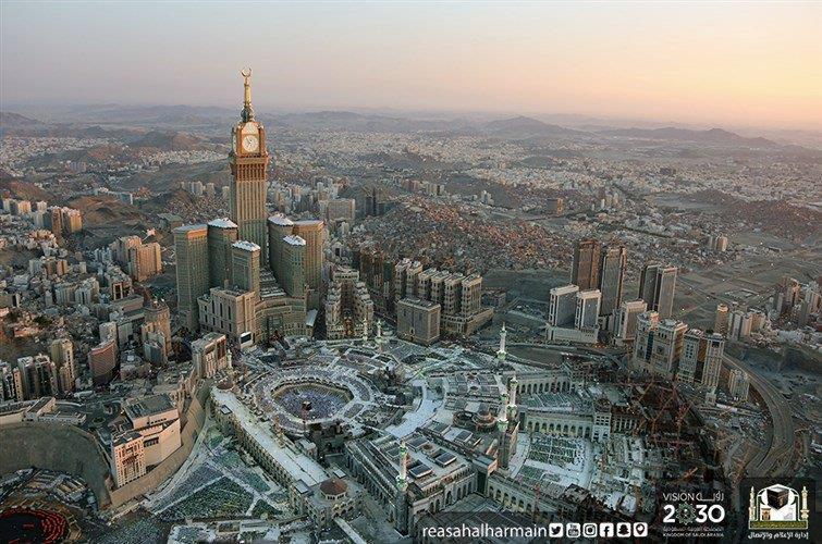 شاهد.. مناظر خلابة للمسجد الحرام بالطيران العمودي قبيل الإفطار
