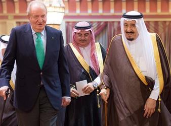 استقبال خادم الحرمين الشريفين ملك مملكة أسبانيا السابق