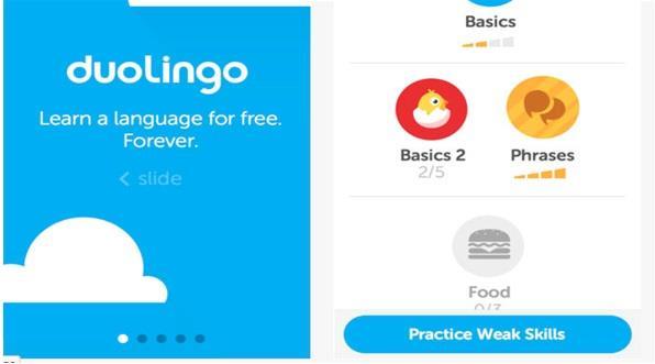 تطبيق Duolingo لتعليم اللغات مجاناً لمستخدمي اندرويد وiOS، وهو يتيح فرصة لتعلم مهارات لغوية متعددة مع تدريبات تفاعلية لإتقان ا