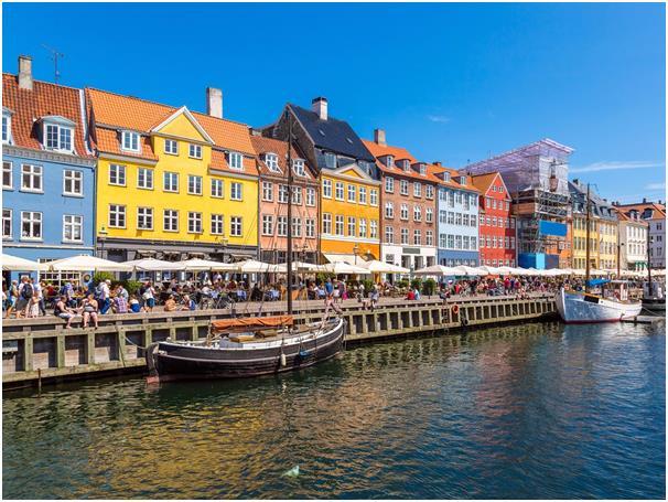 تأتي مدينة كوبنهاجن عاصمة الدنمارك والتي تقع على ساحل جزيرتي زيلاند وأماغر في المركز الرابع،  تحتوي على الكثير من الجسور والمس
