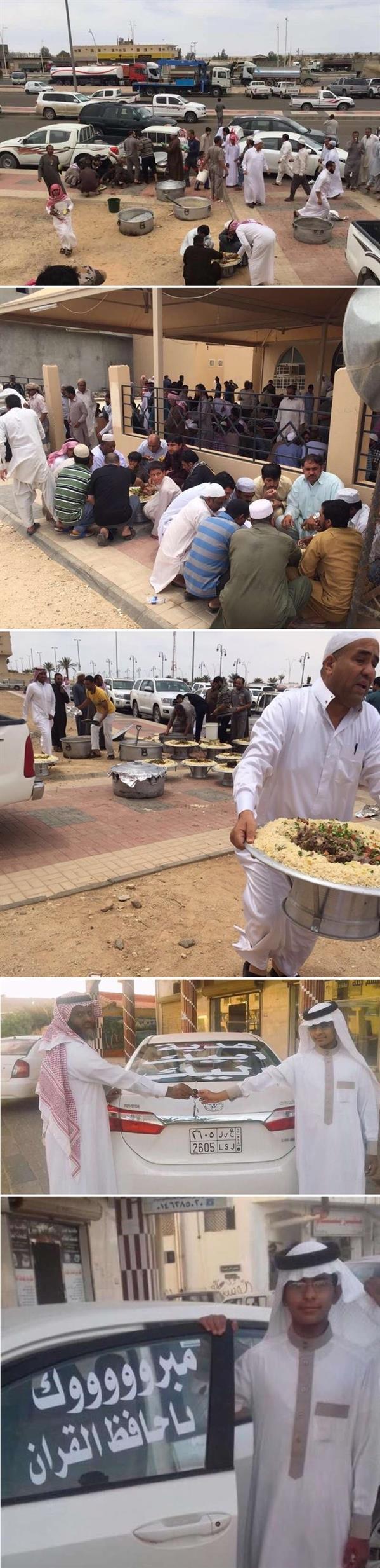 إمام مسجد يقيم وليمة للمصلين ويهدي ابنه سيارة احتفالا بحفظه للقرآن
