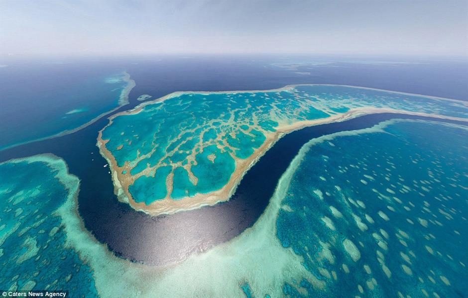 """أنظر بعمق حتى يتجاوز نظرك المياه، فالحاجز المرجاني في استراليا يبدو منعكسًا بظل من لون """"التركواز"""""""